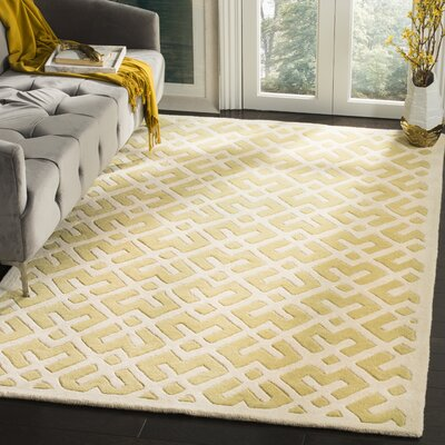 Wilkin Hand-Tufted Wool Light Gold Area Rug Rug Size: Rectangle 4 x 6