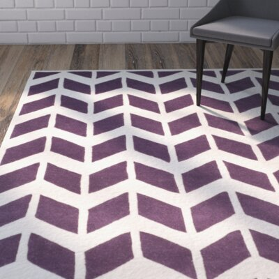 Wilkin Hand-Tufted Wool Purple/Ivory Area Rug Rug Size: Rectangle 3 x 5