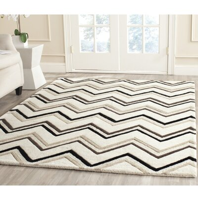 Charlenne Hand-Tufted Wool Ivory/Black Area Rug Rug Size: Rectangle 5 x 8