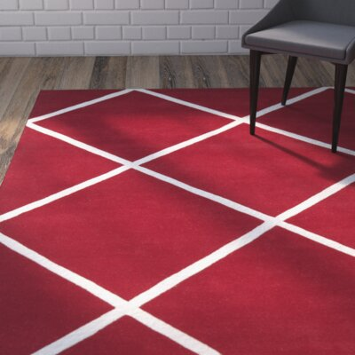 Wilkin Hand-Tufted Red/Ivory Area Rug Rug Size: Rectangle 4 x 6
