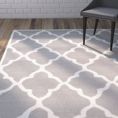 Charlenne Hand-Tufted Dark Grey/Ivory Area Rug Rug Size: Rectangle 4 x 6