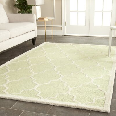 Charlenne Hand-Tufted Wool Light Green/Ivory Area Rug Rug Size: Rectangle 3 x 5
