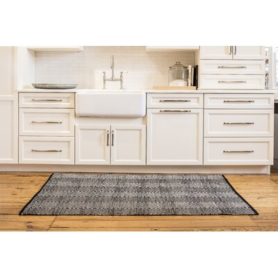 Criswell Hand-Woven Cotton Black/White Area Rug Rug Size: Rectangle 4 x 6