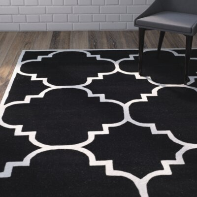 Wilkin Hand-Tufted Black/Ivory Area Rug Rug Size: Rectangle 5 x 8