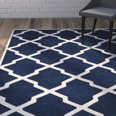 Wilkin Hand-Tufted Wool Dark Blue/Ivory Area Rug Rug Size: Rectangle 5 x 8
