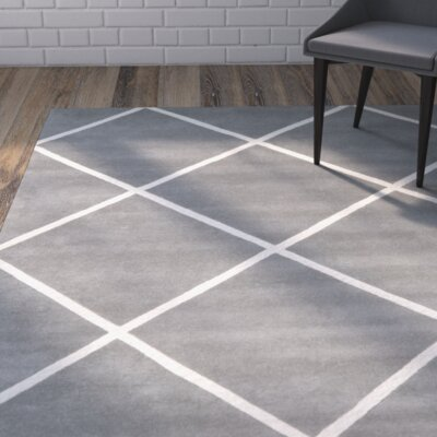 Wilkin Hand-Tufted Wool Dark Gray/Ivory Area Rug Rug Size: Rectangle 4 x 6