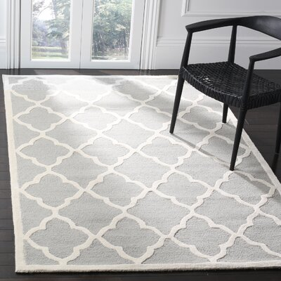 Charlenne Hand-Tufted Light Gray/Ivory Area Rug Rug Size: Rectangle 3 x 5