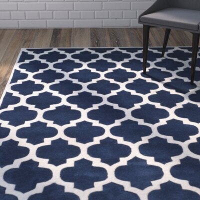 Wilkin Hand-Tufted Dark Blue/Ivory Area Rug Rug Size: Rectangle 5 x 8