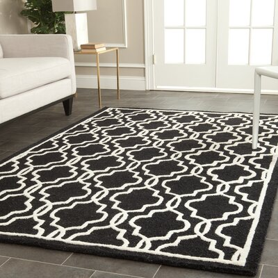 Martins Hand-Tufted Wool Black Area Rug Rug Size: Rectangle 6 x 9