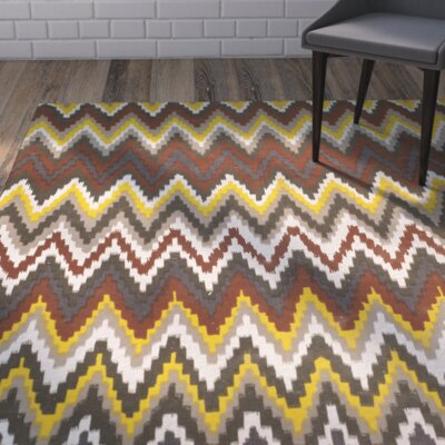 Sonny Hand-Woven Cotton Brown/Citron Area Rug Rug Size: Rectangle 4 x 6