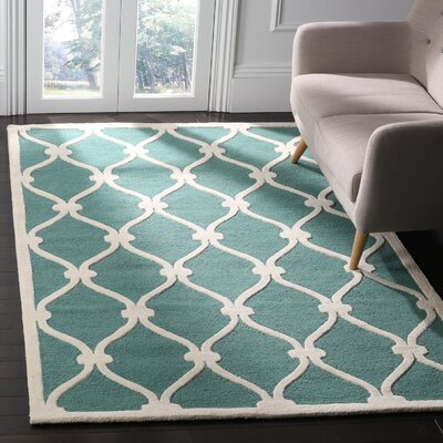 Martins Hand-Tufted Wool Teal/Ivory Area Rug Rug Size: Rectangle 4 x 6