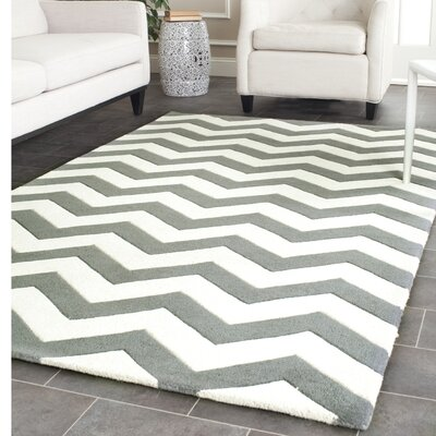 Wilkin Hand Tufted Wool Dark Blue/Ivory Area Rug Rug Size: Square 5