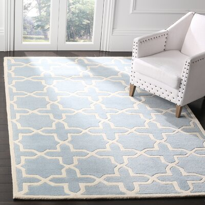Wilkin Hand-Tufted Blue/Ivory Area Rug Rug Size: Rectangle 4 x 6