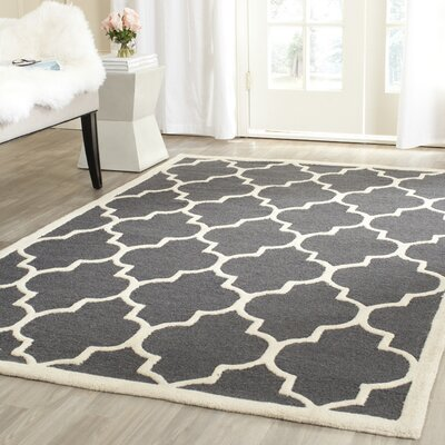 Charlenne Hand-Tufted Dark Gray/Ivory Area Rug Rug Size: Rectangle 4 x 6