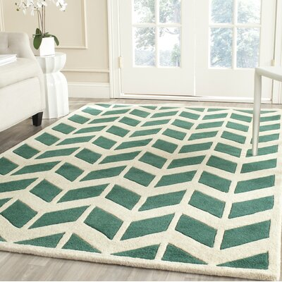 Wilkin Moroccan Hand-Tufted Wool Green/Ivory Area Rug Rug Size: Runner 23 x 7