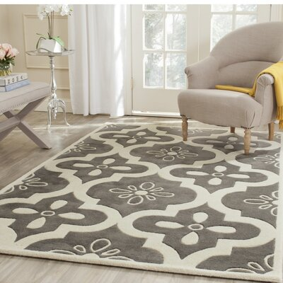 Wilkin Moroccan Hand-Tufted Wool Dark Gray/Ivory Indoor/Outdoor Area Rug Rug Size: Rectangle 6 x 9