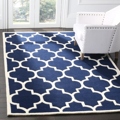 Wilkin Hand-Tufted Dark Blue/Ivory Area Rug Rug Size: Rectangle 3 x 5