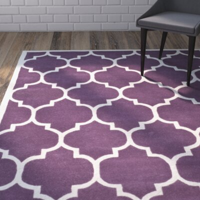 Wilkin Hand-Tufted Purple/Ivory Area Rug Rug Size: Rectangle 6 x 9