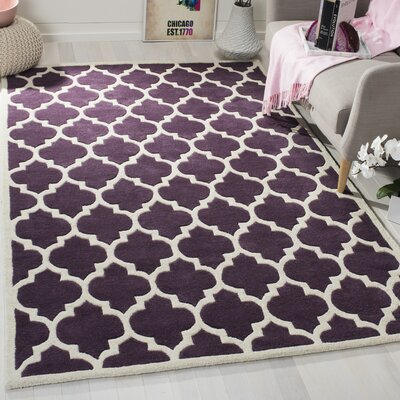 Wilkin Purple/Ivory Moroccan Area Rug Rug Size: Rectangle 4 x 6
