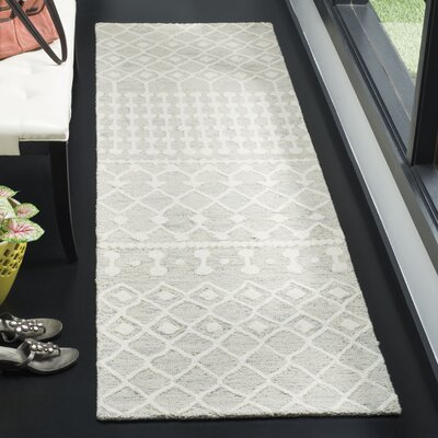 Forrest Hand-Tufted Wool Gray/Ivory Area Rug Rug Size: Rectangle 23 x 8