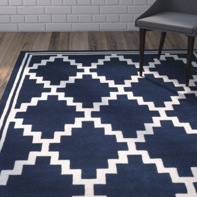 Wilkin Wool Navy/Ivory Area Rug Rug Size: Rectangle 5 x 8