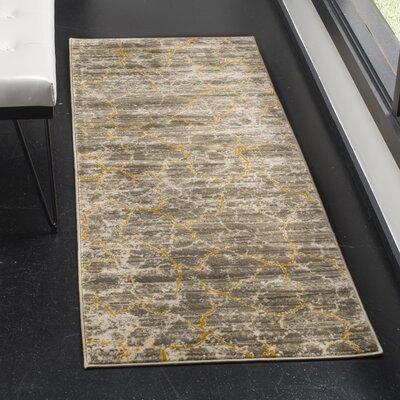 Sorrentino Dark grey/Yellow Area Rug Rug Size: Runner 24 x 67