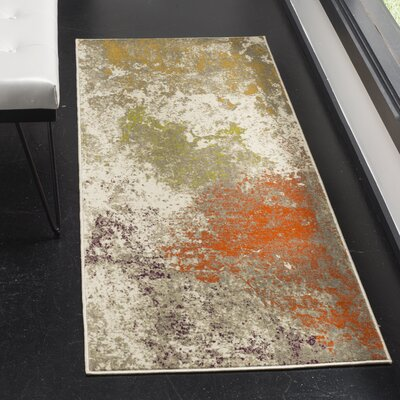 Sorrentino Gray/Orange Area Rug Rug Size: Runner 24 x 67