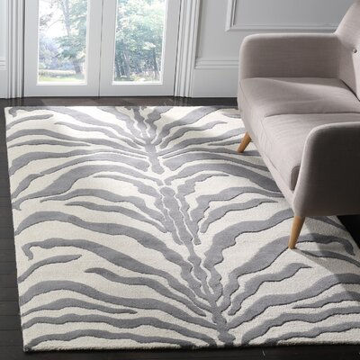 Roloff Ivory & Dark Gray Area Rug Rug Size: Rectangle 4 x 6
