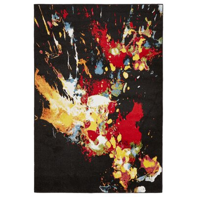Andreasen Abstract Splash Black/Red/Yellow Area Rug Rug Size: Rectangle 51 x 75