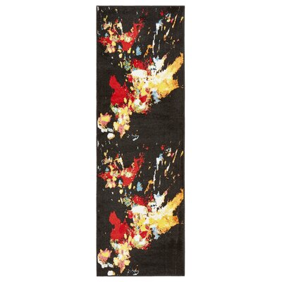 Andreasen Abstract Splash Black/Red/Yellow Area Rug Rug Size: Runner 23 x 7