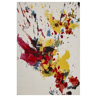 Andreasen Abstract Splash Red/Yellow/Blue Area Rug Rug Size: Rectangle 51 x 75
