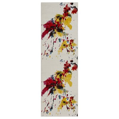 Andreasen Abstract Splash Red/Yellow/Blue Area Rug Rug Size: Runner 23 x 7