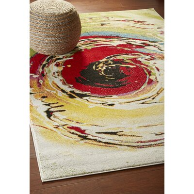 Andreasen Abstract Swirl Red/Black/Yellow Area Rug Rug Size: Rectangle 3 x 5