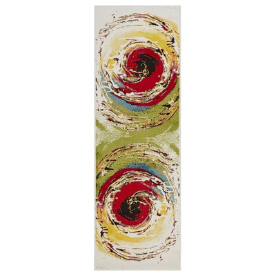 Andreasen Abstract Swirl Red/Black/Yellow Area Rug Rug Size: Runner 23 x 7