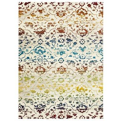 Ambrosine Cream/Blue/Yellow Area Rug Rug Size: Rectangle 5 x 8