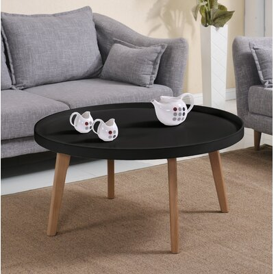 Simeone Raised Edge Coffee Table Table Top Color: Matte Black
