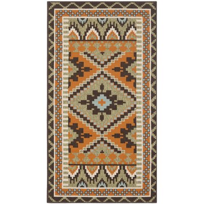 Sierra Green/Terracotta  Indoor/Outdoor Area Rug Rug Size: Runner 23 x 8