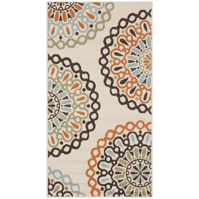 Palma Ivory/Brown Indoor/Outdoor Area Rug Rug Size: Runner 27 x 5