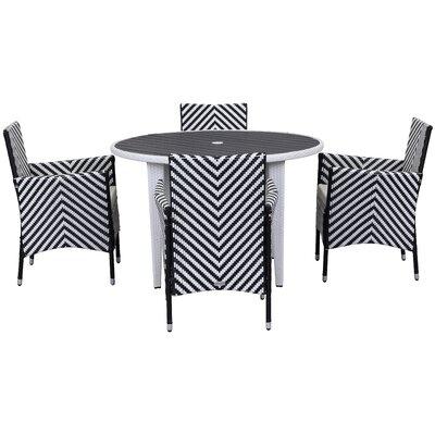 5-Piece Carole Patio Dining Set in Chevron