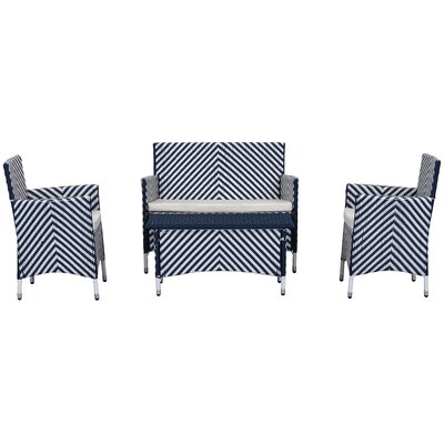 Mckeever 4 Piece Deep Seating Group with Cushions Finish: Navy / White