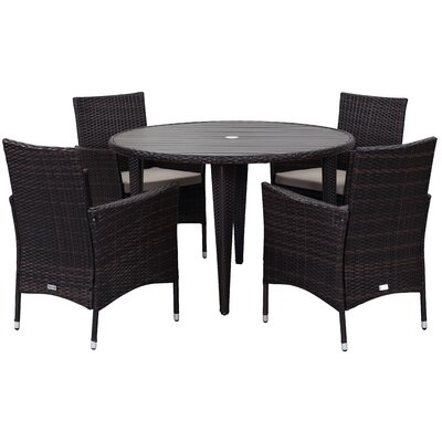5-Piece Carole Patio Dining Set in Solid