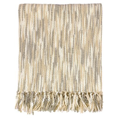 Charisma Striped Throw Blanket Color: Gray / Cream