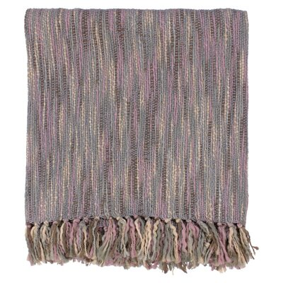 Charisma Striped Throw Blanket Color: Gray / Mauve