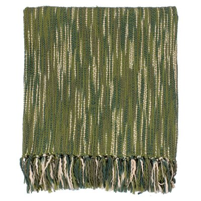 Charisma Striped Throw Blanket Color: Ivory / Green