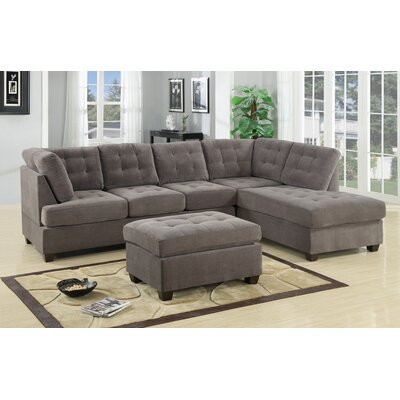Darianna Leather Waffle Reversible Sectional Upholstery: Grey Charcoal