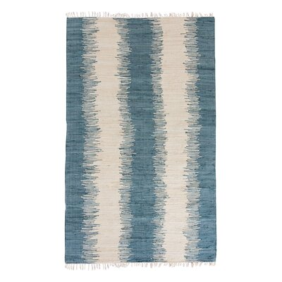 Portsmouth Hand Woven Cotton Blue/Ivory Area Rug Rug Size: 5 x 7