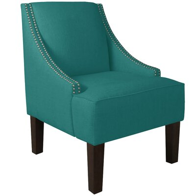 Fassbender Side Chair Upholstery: Linen Laguna, Nailhead Detail: Pewter Nailhead