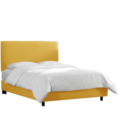 Upholstered Panel Bed Color: French Yellow, Size: King