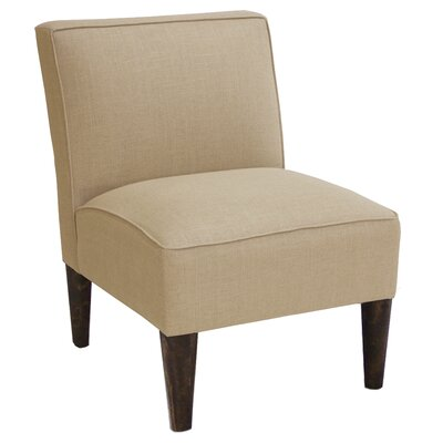 Slipper Chair Upholstery: Linen Sandstone, Finish: Espresso