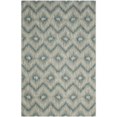 Courtyard Gray & Blue Area Rug Rug Size: 6'7